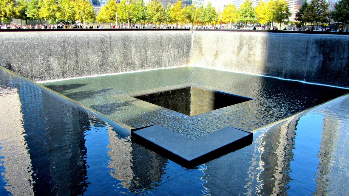 One of the reflecting pools at the National September 11 Memorial.