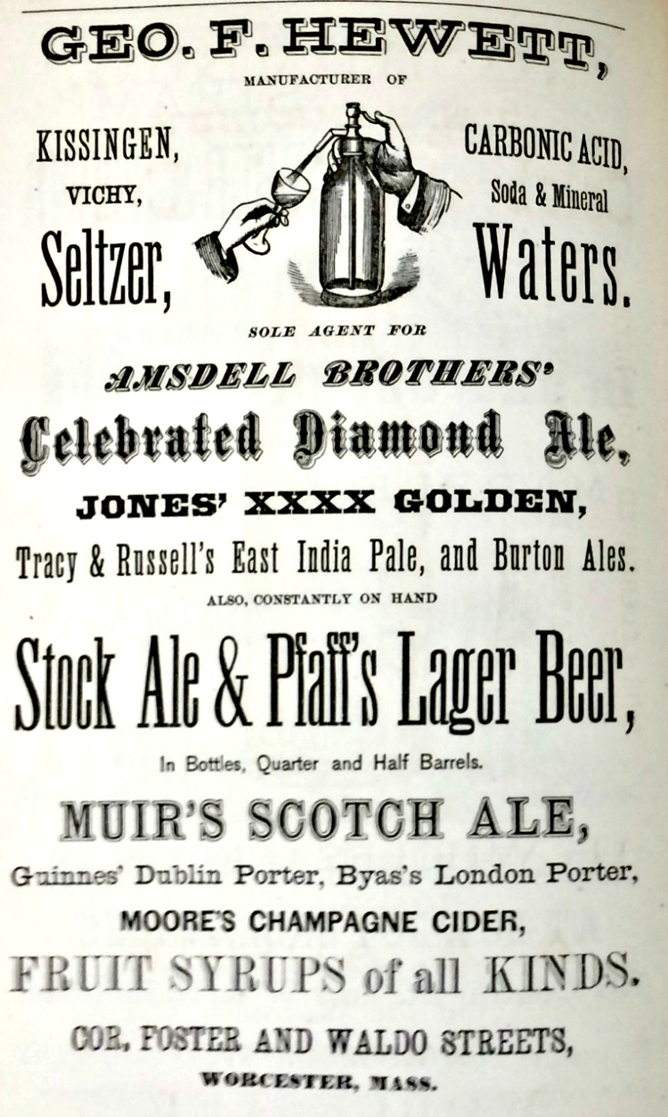 1872 entry in the city directory for Geo. F. Hewett, advertising, among other drinks, Guinness' Dublin Porter.